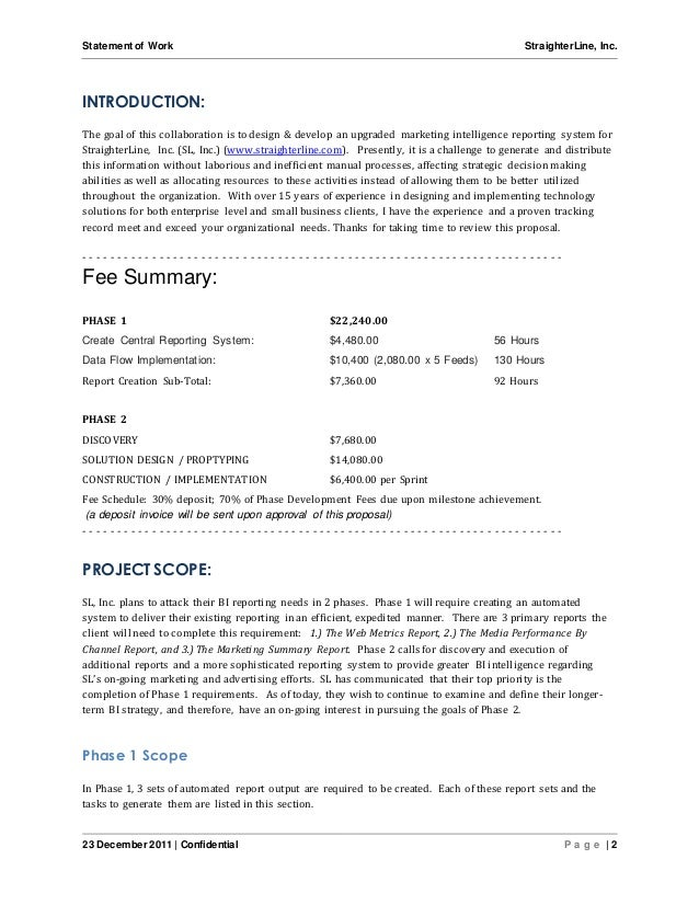 Software project statement of work document sample for Marketing scope of work template