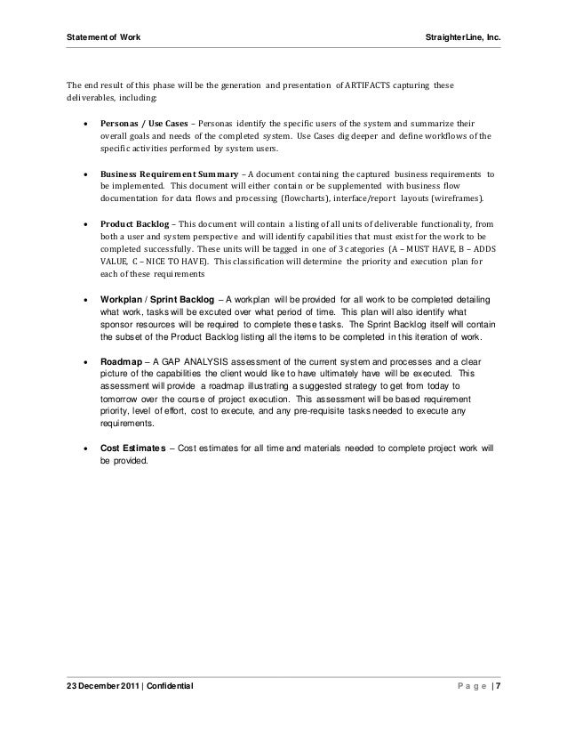Software project statement of work document sample for How to write a statement of work template