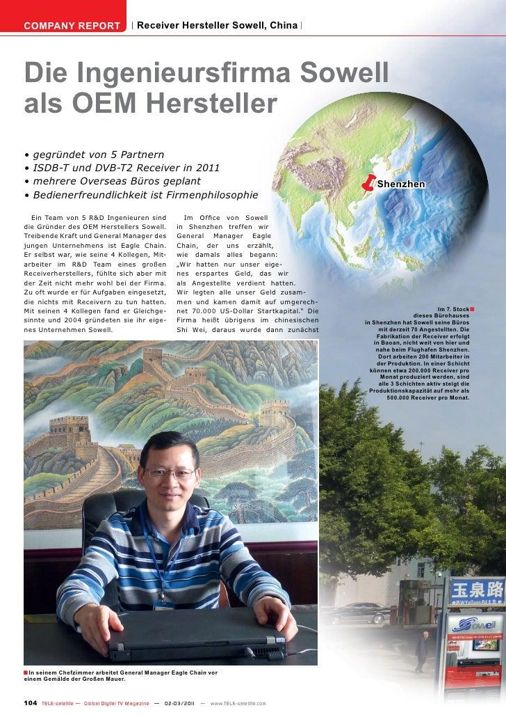 COMPANY REPORT                         Receiver Hersteller Sowell, ChinaDie Ingenieursfirma Sowellals OEM Hersteller•   ge...