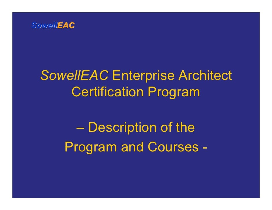Sowelleac Enterprise Architect Certification Overview