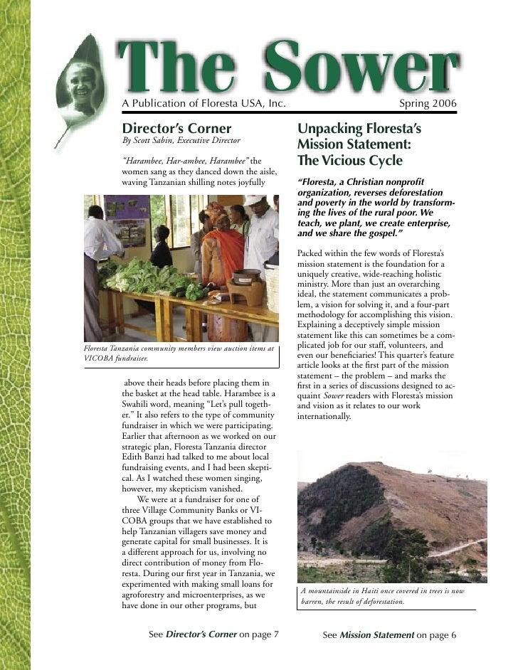 A Publication of Floresta USA, Inc.                                              Spring 2006           Director's Corner  ...