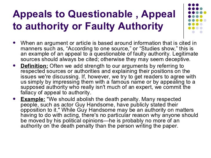 appeal that will the wrong authority essay