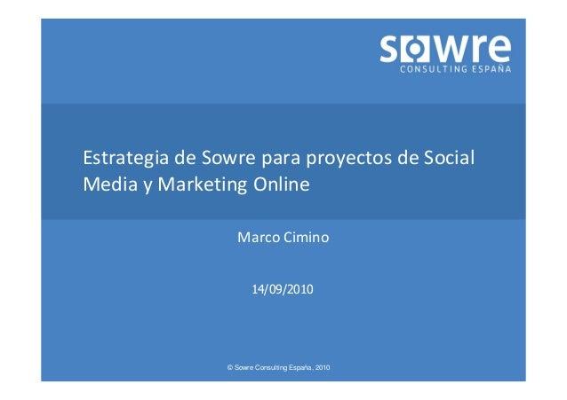 © Sowre Consulting España, 2010 Estrategia de Sowre para proyectos de Social Media y Marketing Online Marco Cimino 14/09/2...