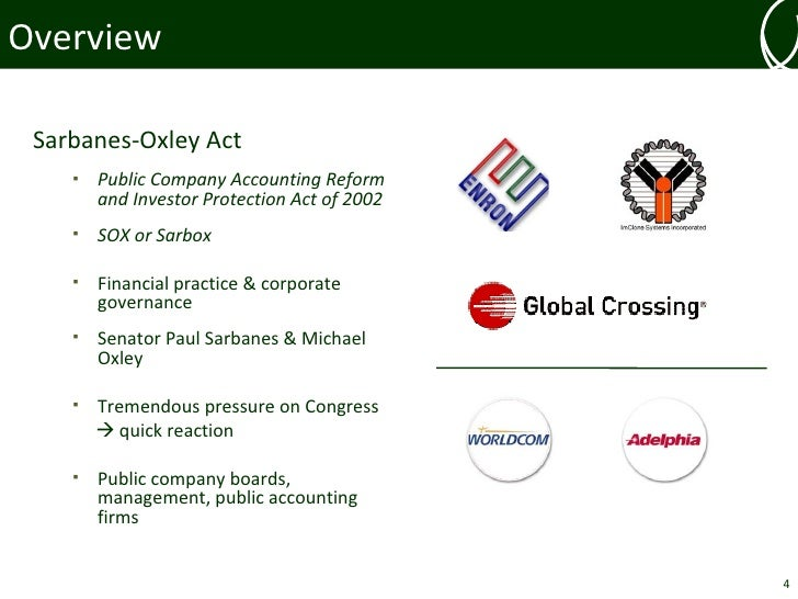 summary of sarbanes oxley act of 2002 Sarbanes-oxley act of 2002 (sox) congress passed the sarbanes-oxley act (sox) in large part to protect investors by improving the accuracy and reliability of corporate disclosures made pursuant to the securities laws.