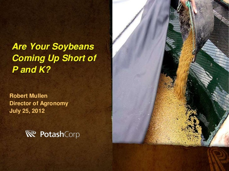 Are Your SoybeansComing Up Short ofP and K?Robert MullenDirector of AgronomyJuly 25, 2012          PotashCorp.com
