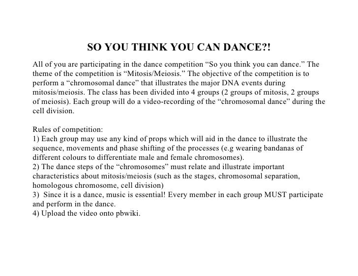 """SO YOU THINK YOU CAN DANCE?! All of you are participating in the dance competition """"So you think you can dance."""" The theme..."""
