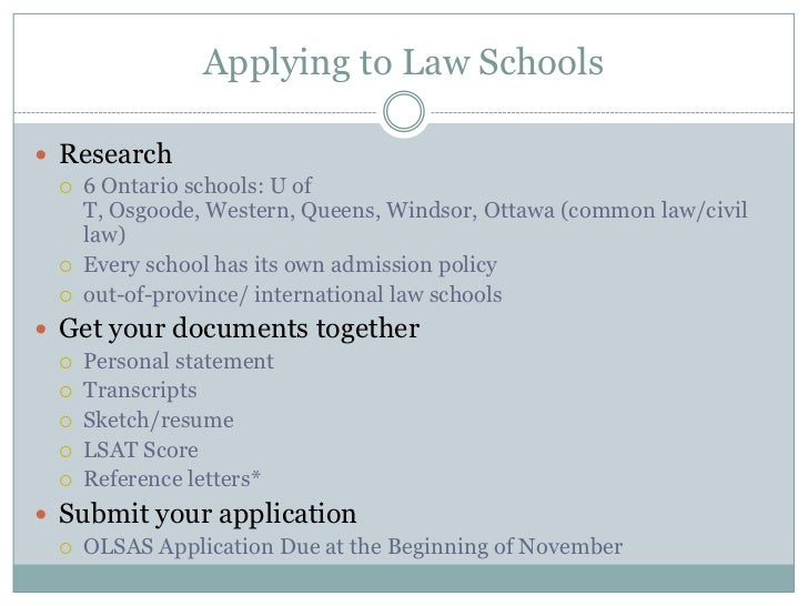 Ontario law school application personal statement