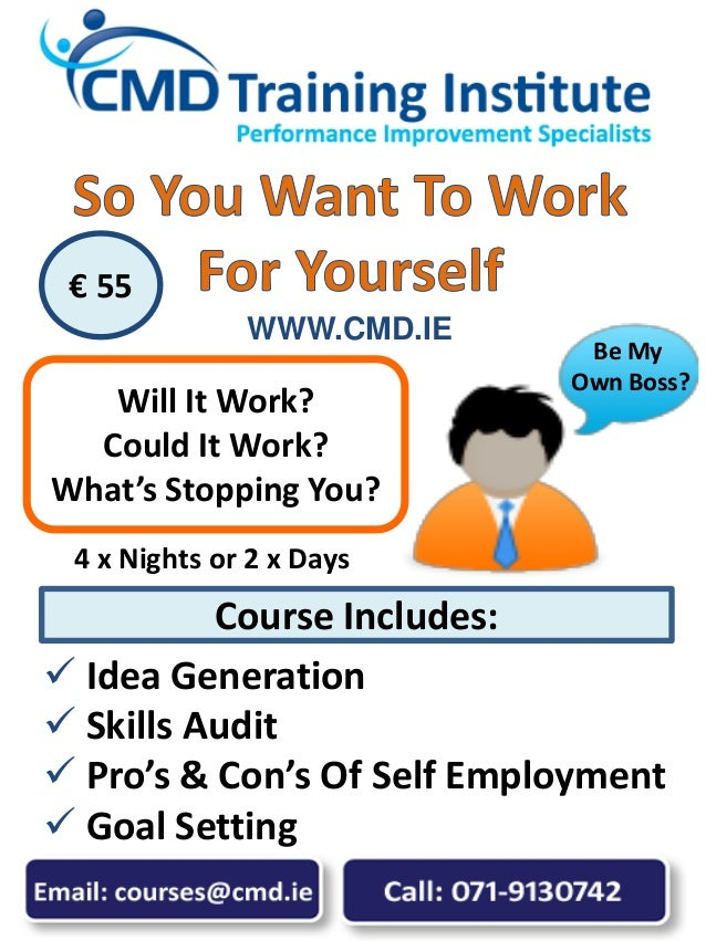  Idea Generation  Skills Audit  Pro's & Con's Of Self Employment  Goal Setting Will It Work? Could It Work? What's Sto...