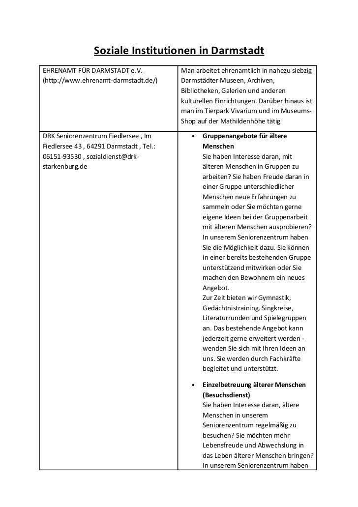 Soziale Institutionen in DarmstadtEHRENAMT FÜR DARMSTADT e.V.               Man arbeitet ehrenamtlich in nahezu siebzig(ht...