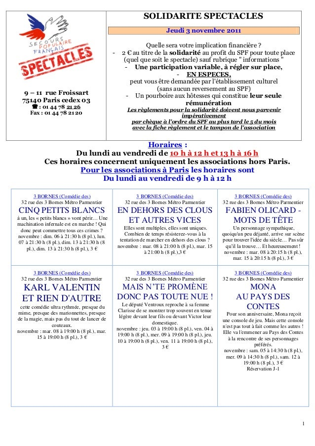 1 9 – 11 rue Froissart 75140 Paris cedex 03  : 01 44 78 U21 26 Fax : 01 44 78 21 20 151BSOLIDARITE SPECTACLES Jeudi 3 nov...