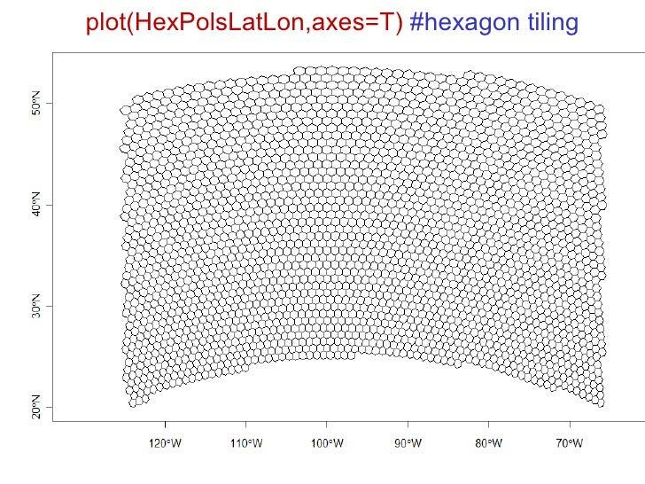 plot(HexPolsLatLon,axes=T)  #hexagon tiling