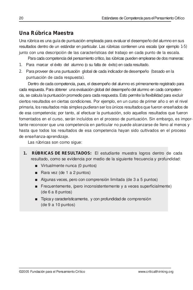 Una Rúbrica Maestra Una rúbrica es una guía de puntuación empleada para evaluar el desempeño del alumno en sus resultados ...