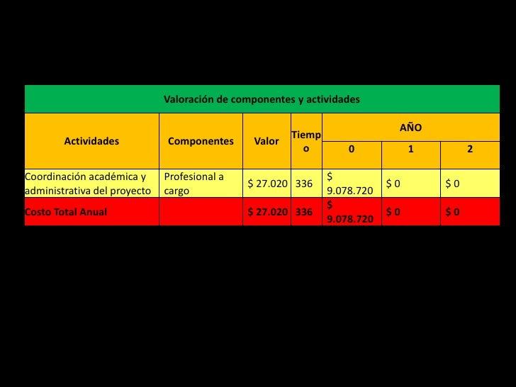 Valoración de componentes y actividades                                                                              AÑO  ...