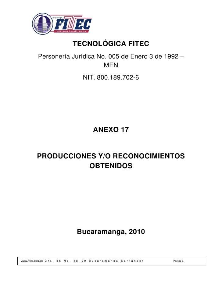TECNOLÓGICA FITEC             Personería Jurídica No. 005 de Enero 3 de 1992 –                                   MEN      ...