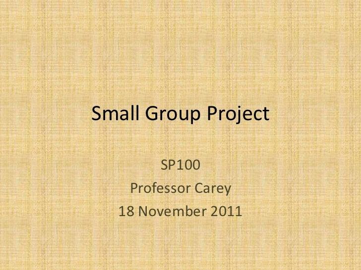 Small Group Project        SP100   Professor Carey  18 November 2011