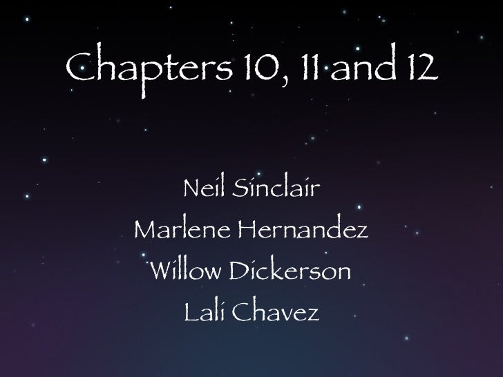 Chapters 10, 11 and 12 Neil Sinclair Marlene Hernandez Willow Dickerson Lali Chavez