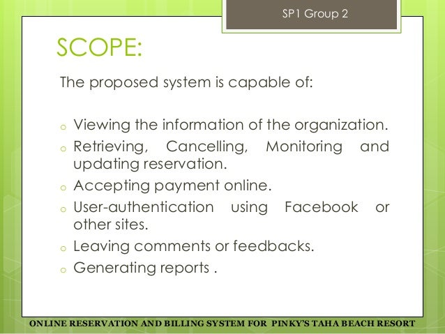 Scope and limitation of hotel reservation and billing system