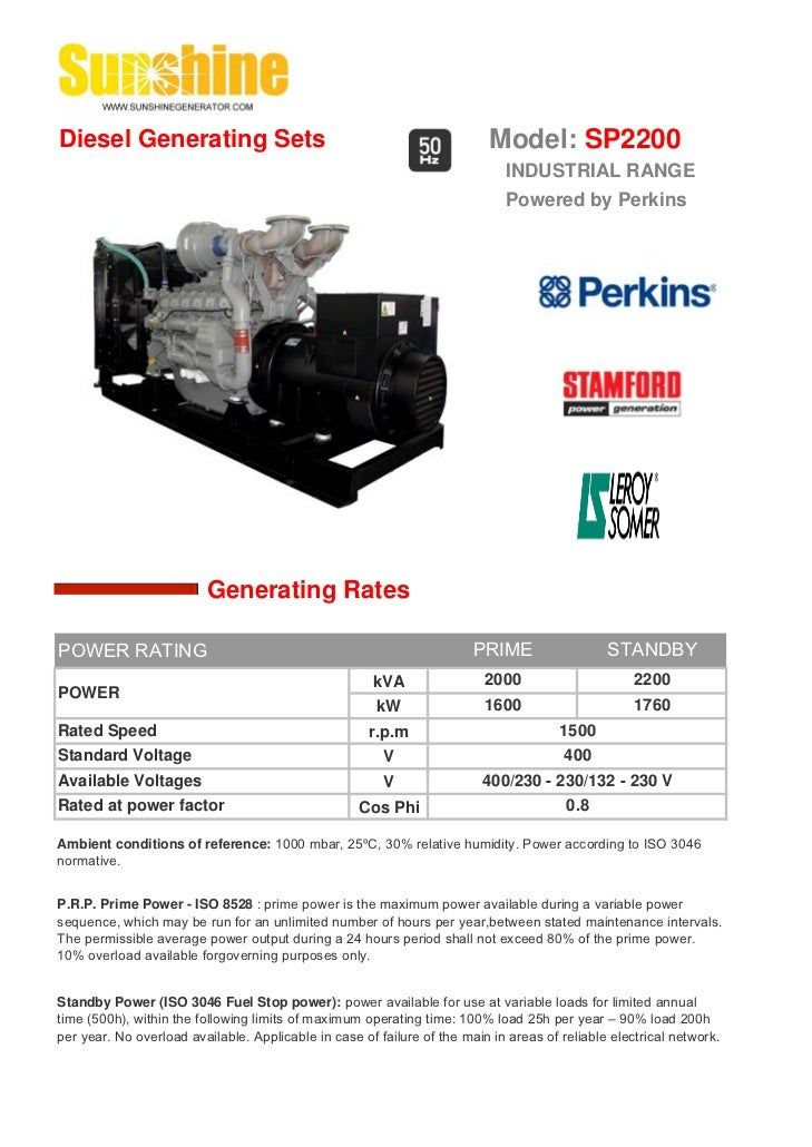 Diesel Generating Sets                                                    Model: SP2200                                   ...