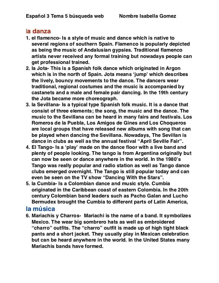 Español 3 Tema 5 búsqueda web            Nombre Isabella Gomezla danza1. el flamenco- Is a style of music and dance which i...