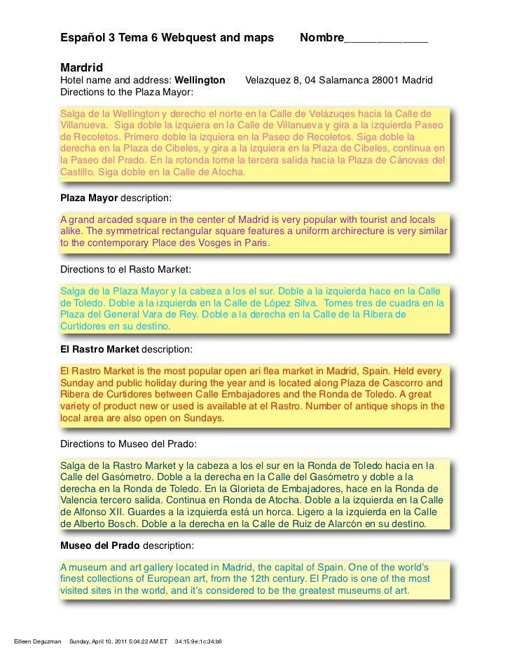 Español 3 Tema 6 Webquest and maps                                        Nombre_____________               Mardrid       ...