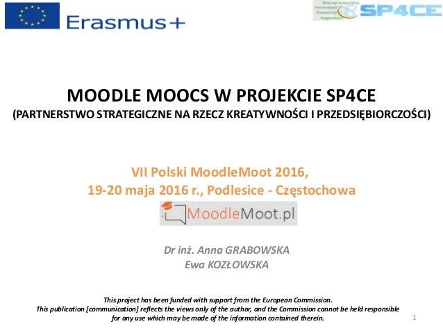 MOODLE MOOCS W PROJEKCIE SP4CE (PARTNERSTWO STRATEGICZNE NA RZECZ KREATYWNOŚCI I PRZEDSIĘBIORCZOŚCI) VII Polski MoodleMoot...