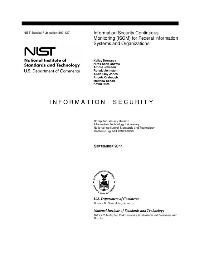 Nist Sp 800 137 Information Security Continuous Monitoring Iscm