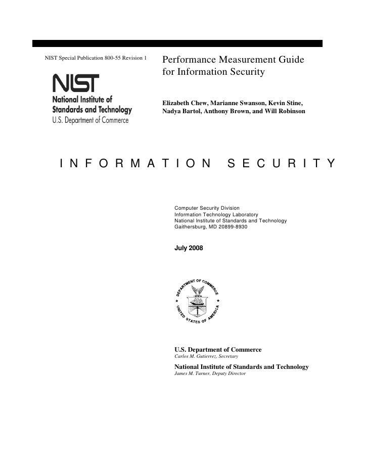 NIST Special Publication 800-55 Revision 1                                              Performance Measurement Guide     ...