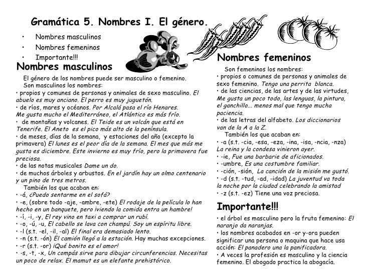 Gramática 5. Nombres I. El género. <ul><li>Nombres masculinos </li></ul><ul><li>Nombres femeninos </li></ul><ul><li>Import...
