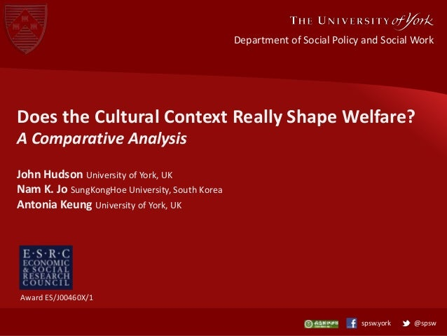 Department of Social Policy and Social Work  Does the Cultural Context Really Shape Welfare? A Comparative Analysis John H...