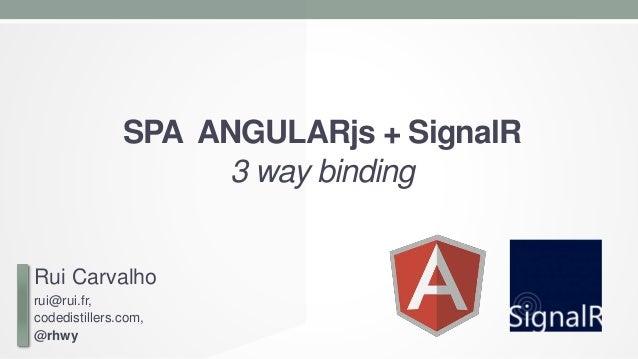 SPA ANGULARjs + SignalR 3 way binding  Rui Carvalho rui@rui.fr, codedistillers.com, @rhwy