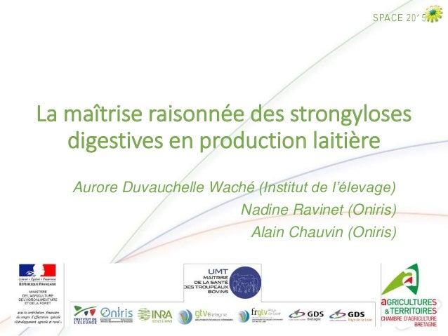 La maîtrise raisonnée des strongyloses digestives en production laitière Aurore Duvauchelle Waché (Institut de l'élevage) ...