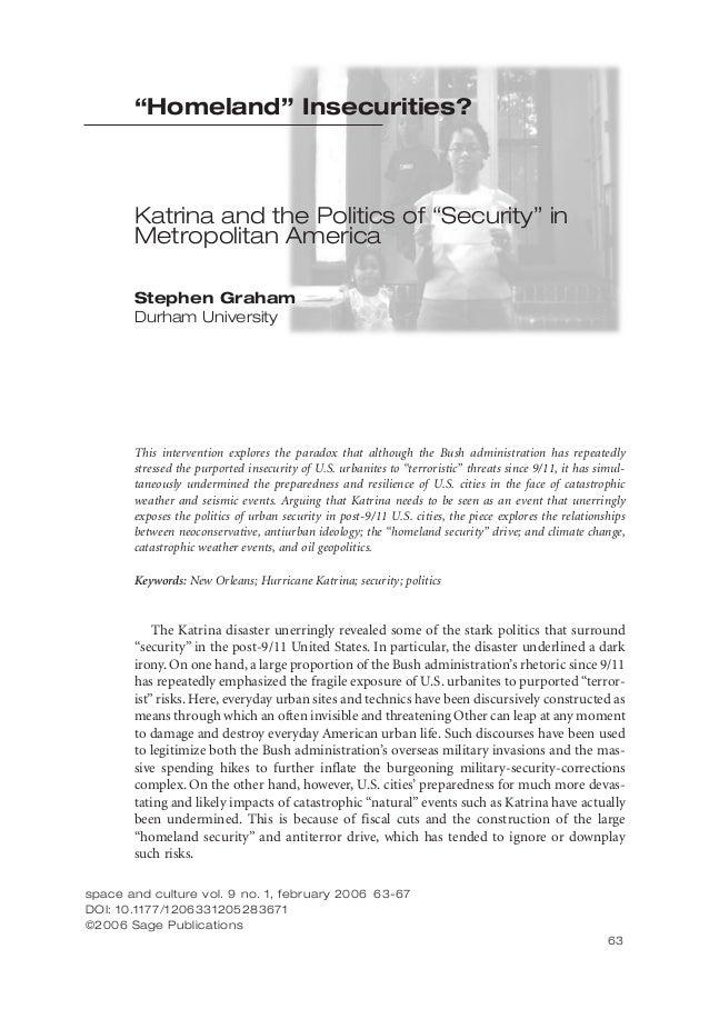 """Homeland"" Insecurities?  Katrina and the Politics of ""Security"" in Metropolitan America Stephen Graham Durham University ..."