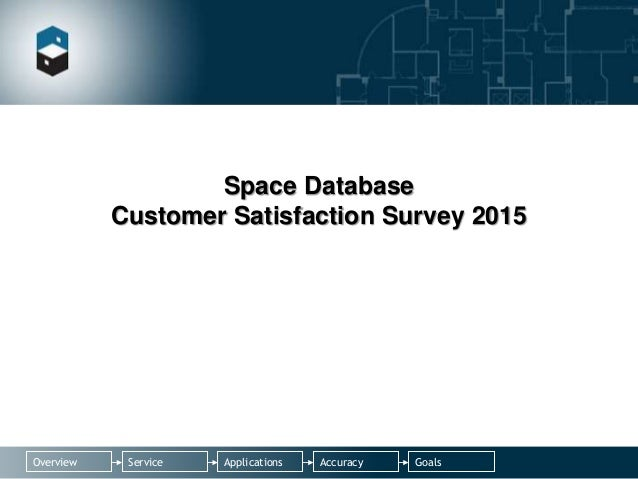 Applications AccuracyServiceOverview Goals Space Database Customer Satisfaction Survey 2015