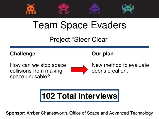 "Project ""Steer Clear"" 102 Total Interviews Challenge: How can we stop space collisions from making space unusable? Team Sp..."