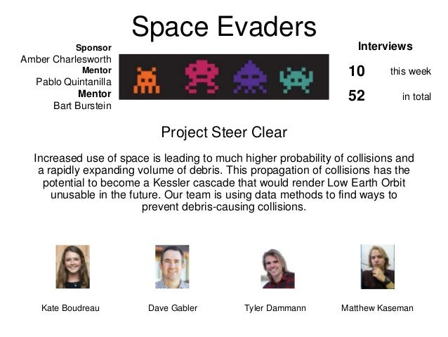 Space Evaders Project Steer Clear Increased use of space is leading to much higher probability of collisions and a rapidly...