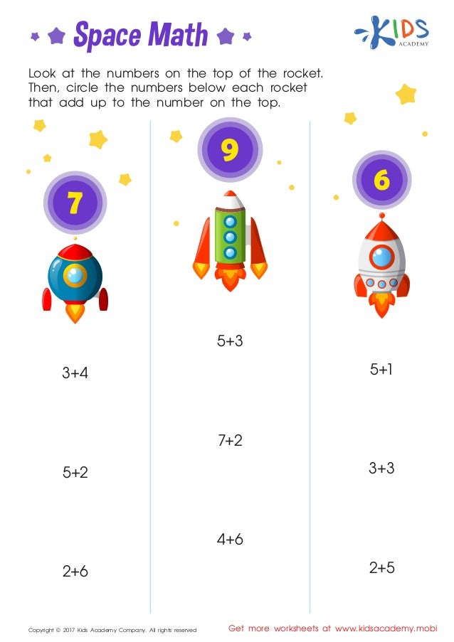 Space Math - Kindergarten Math Worksheets