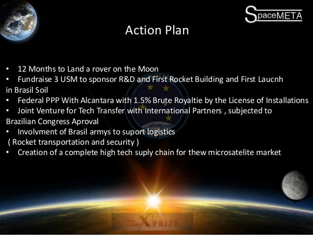 Action Plan • 12 Months to Land a rover on the Moon • Fundraise 3 USM to sponsor R&D and First Rocket Building and First L...