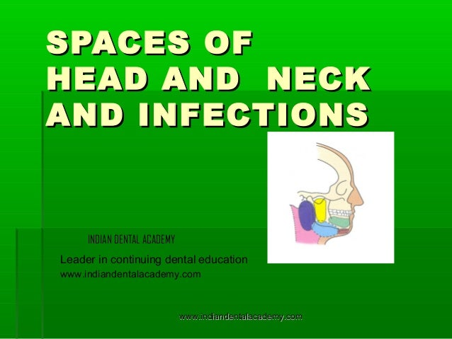 SPACES OF HEAD AND NECK AND INFECTIONS  INDIAN DENTAL ACADEMY Leader in continuing dental education www.indiandentalacadem...