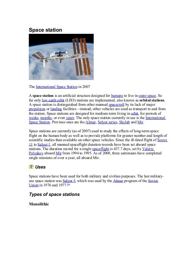 Space station The International Space Station in 2007 A space station is an artificial structure designed for humans to li...