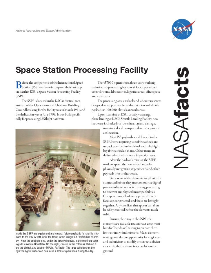 National Aeronautics and Space AdministrationSpace Station Processing Facility                                            ...