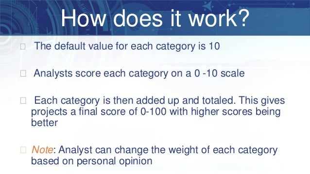 � The default value for each category is 10 � Analysts score each category on a 0 -10 scale � Each category is then added ...