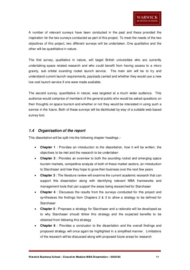 warwick mba project and dissertation A guide to the masters dissertation (non pep) for ma/mba/msc students and staff for submission of proposals for.