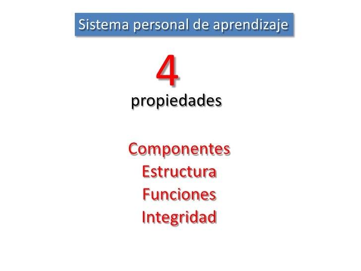 Sistema personal de aprendizaje<br />4<br />propiedades<br />Componentes<br />Estructura<br />Funciones<br />Integridad<br />