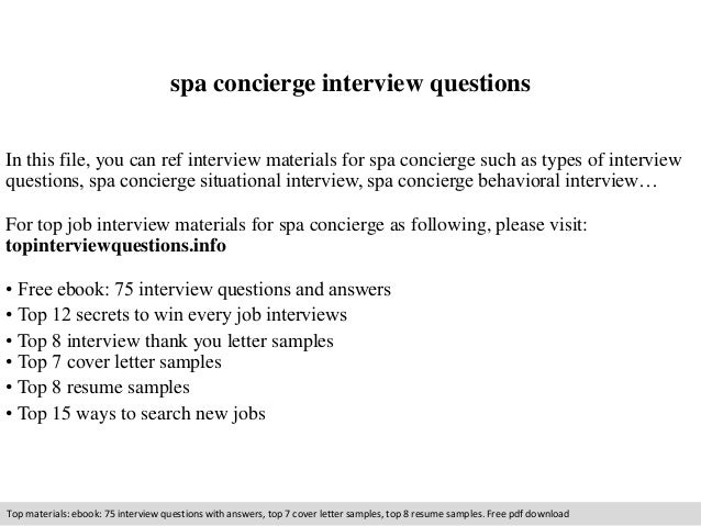 Spa Concierge Interview Questions In This File You Can Ref Materials For