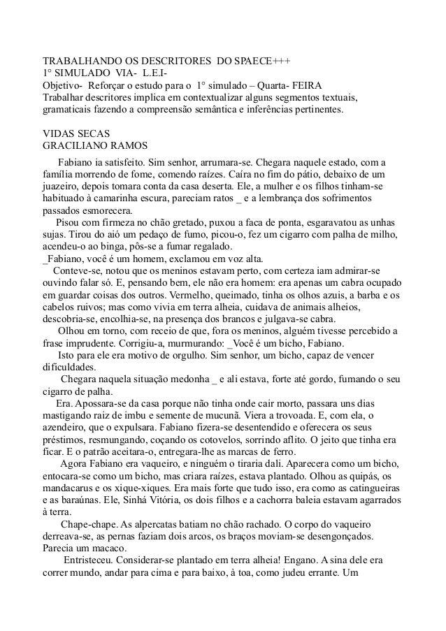 TRABALHANDO OS DESCRITORES DO SPAECE+++1° SIMULADO VIA- L.E.I-Objetivo- Reforçar o estudo para o 1° simulado – Quarta- FEI...