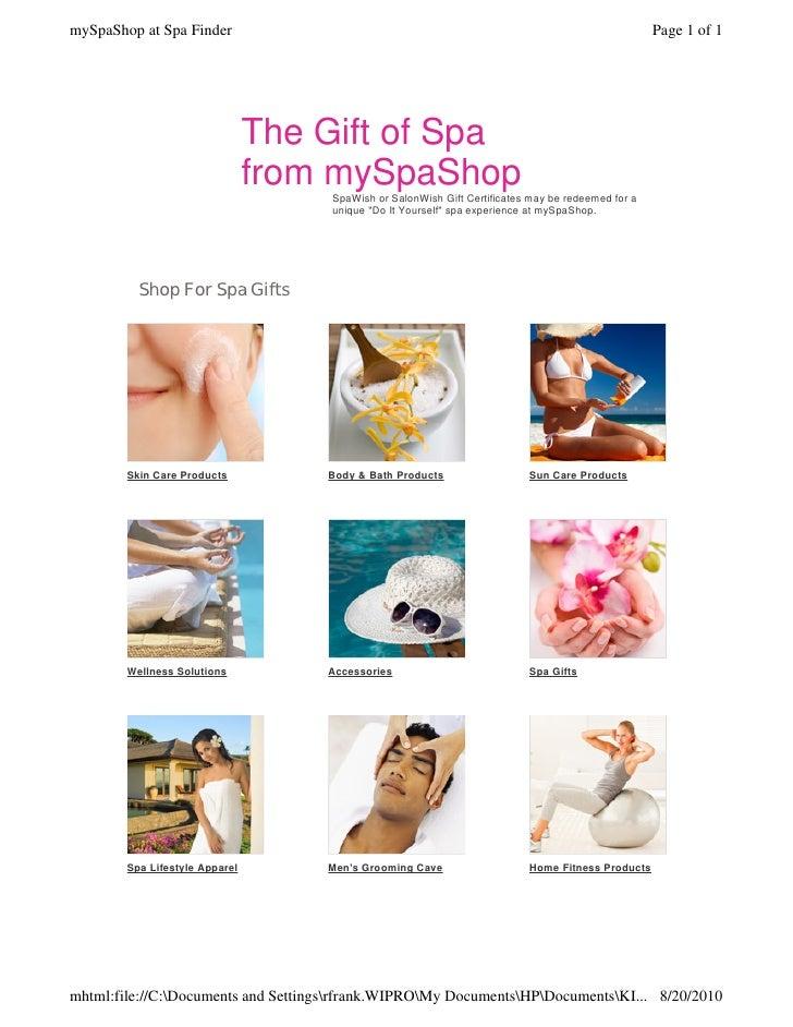 Myspashop redeem spafinder gift certificates myspashop at spa finder solutioingenieria Image collections