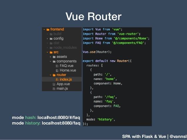 SPA with Flask & Vue | @vannsl Vue Router mode hash: localhost:8080/#/faq mode history: localhost:8080/faq