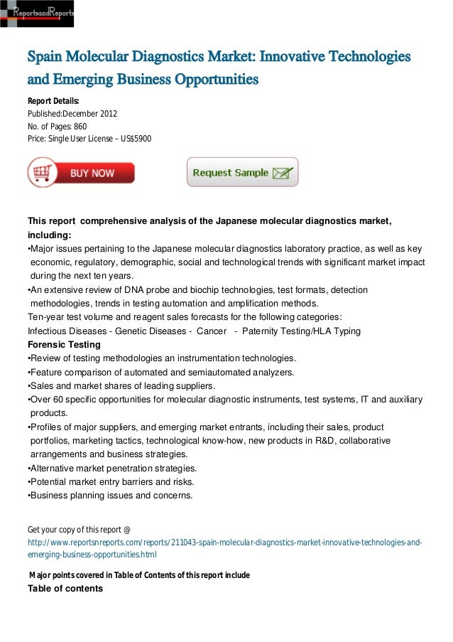 Spain Molecular Diagnostics Market: Innovative Technologiesand Emerging Business OpportunitiesReport Details:Published:Dec...