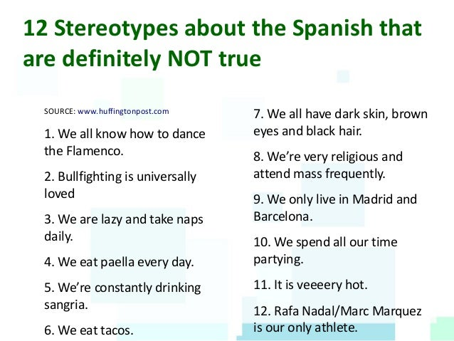Stereotypes about the spanish