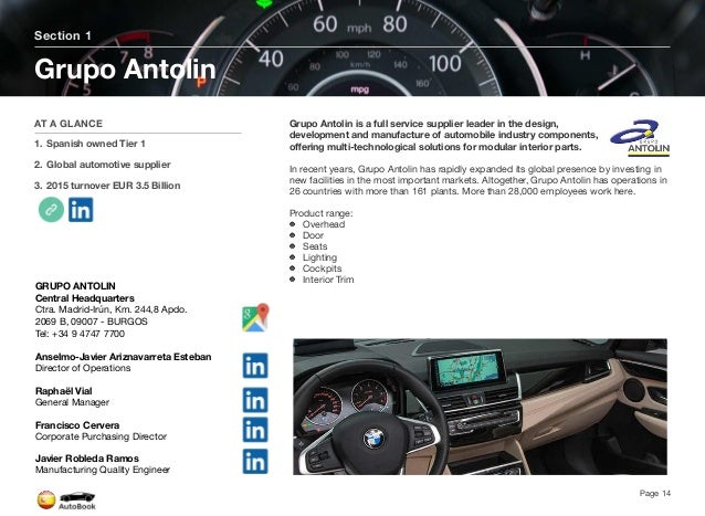 Section 2 Other Spain Tier 1 Suppliers Page 16 The full version of the Spain AutoBook includes profiles of the following Co...
